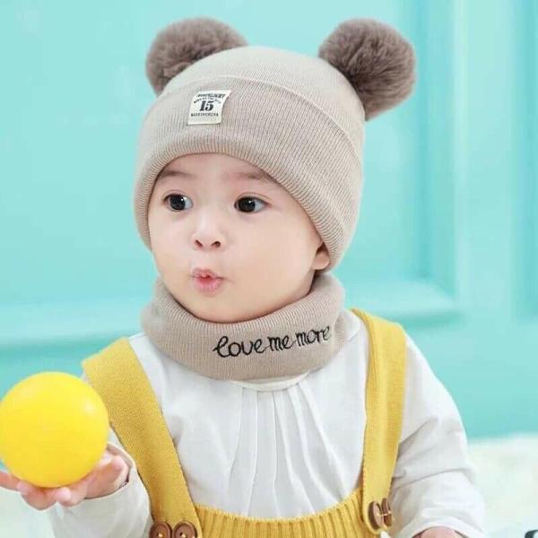 Bộ Khăn Mũ Len Cho Bé Kiểu Dáng Hàn Quốc. Set Mũ Len Khăn Len Cho Bé Từ 3 Tháng Đến 4 Tuổi.
