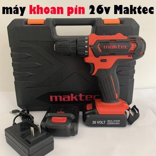 máy khoan pin maktec 26V tặng kèm hộp vali nhiều phụ kiện máy khoan vặn ốc vít cầm tay