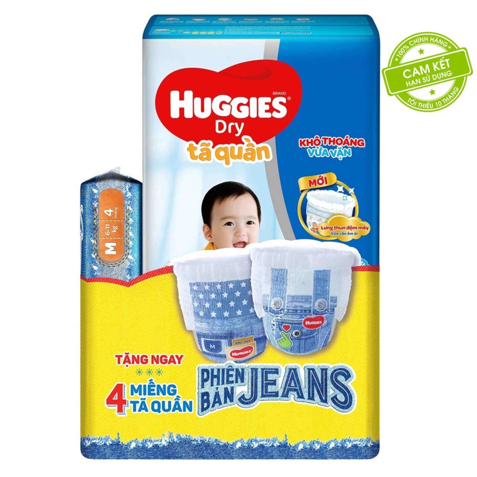 Coupon Giảm Giá Tã/bỉm Quần HUGGIES DRY PANTS JUMBO M40 (5-10kg)  - Gói 40 Miếng - Tặng Thêm 4 Miếng Tã Quần Jeans - Cam Kết HSD Còn ít Nhất 10 Tháng