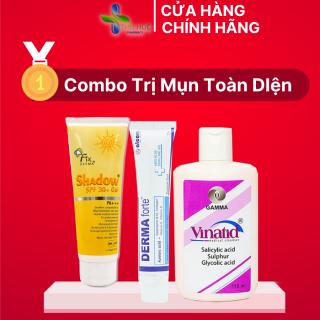 Combo chăm sóc da mụn toàn diện - sáng khỏe da - Gel bôi Derma Forte, sữa rửa mặt Vinatid và kem chống nắng Fix derma30 thumbnail