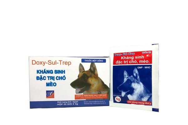 Hanpet-  Thuốc uống phòng bệnh định kì phổ rộng cho chó mèo - DOXY-SUL-TREP (hộp 25 gói)