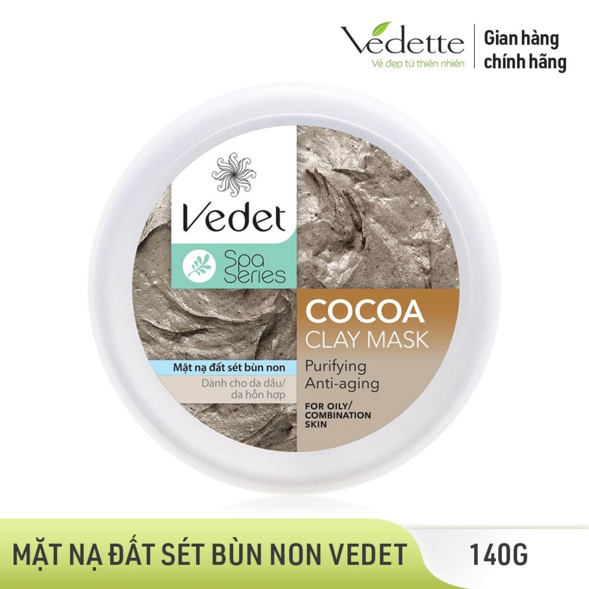 Mặt nạ đất sét bùn non Vedet Spa Series Clay Mask Cocoa hũ 140g nhập khẩu