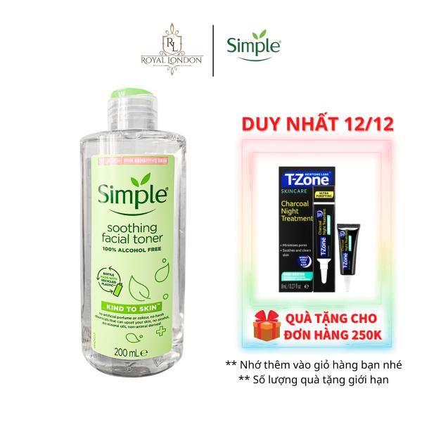 Nước Hoa Hồng Cân Bằng Da Dịu Nhẹ Simple Kind To Skin Soothing Facial Toner 200ml nhập khẩu
