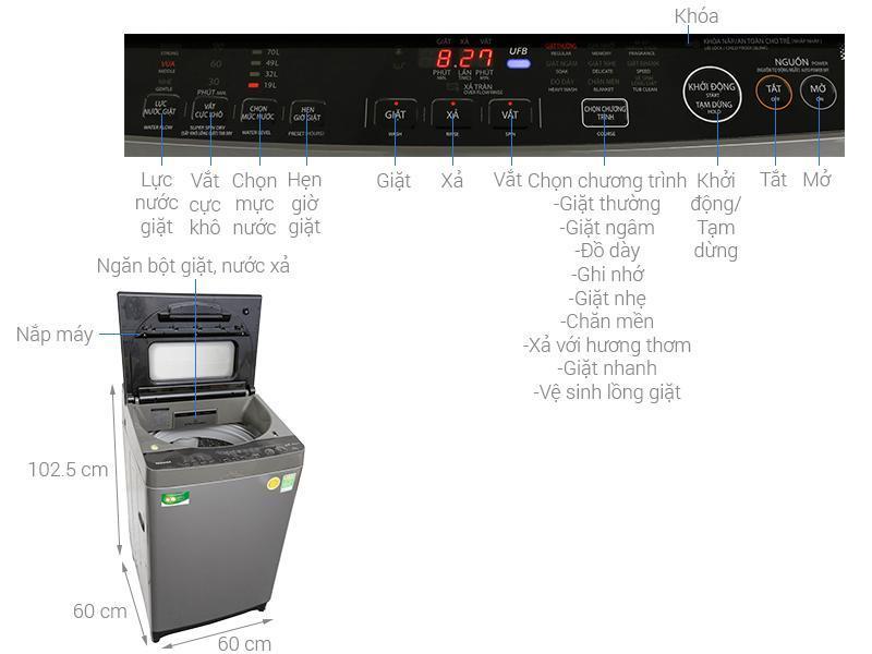 Bảng giá Máy Giặt Toshiba inverter 10kg AWDUH1100GV(DS) Điện máy Pico