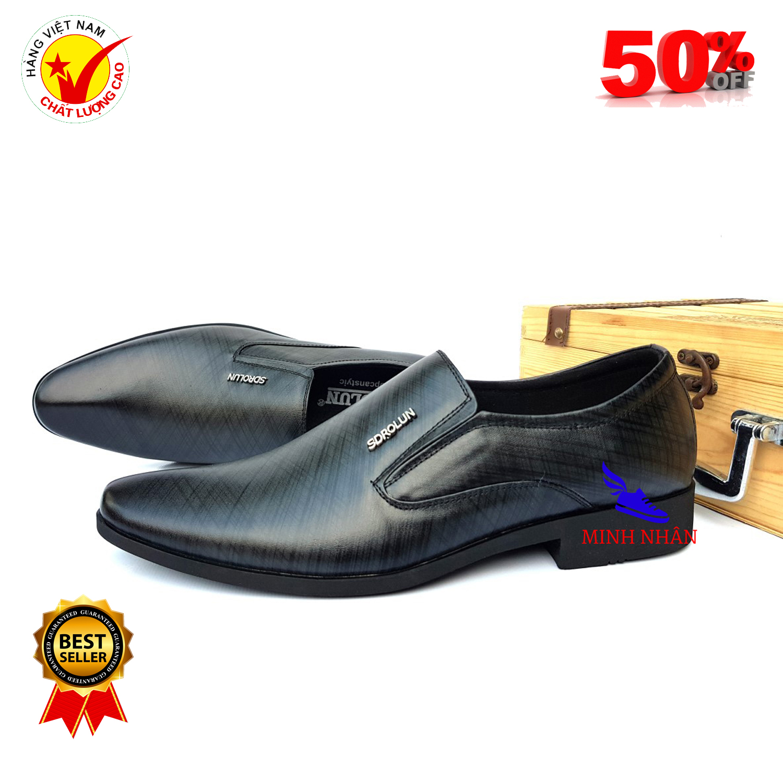 Giày lười nam da bò giày tây nam công sở giày kinh doanh doanh nhân sang trọng da bò nguyên tấm Giày họa tiết đẹp mẫu mới L-29 màu đen