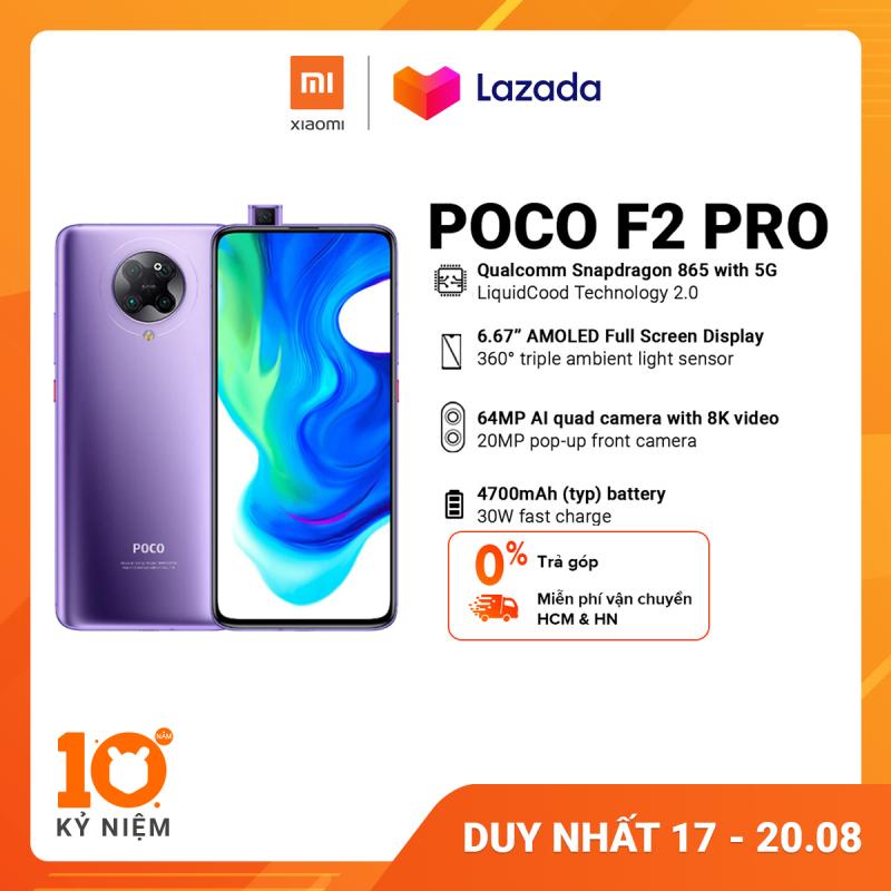 Điện thoại POCO F2 PRO 6GB/128GB - Chip Snapdragon 865 Hỗ trợ 5G Công nghệ tản nhiệt LiquidCool 2.0 Pin 4,700mAH Sạc nhanh 30W Camera sau 64MP Camera selfie 20MP  Bảo hành chính hãng 18 tháng