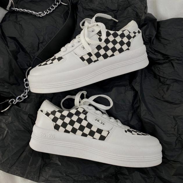 Giày Vải Bố Thường Ngày Kiểu Nhật Ca Rô Đen Trắng Mẫu Mới Thu 2020 Giày Trắng Instagram Dễ Phối Học Sinh Đế Dày Đầu Tròn Cho Nữ giá rẻ