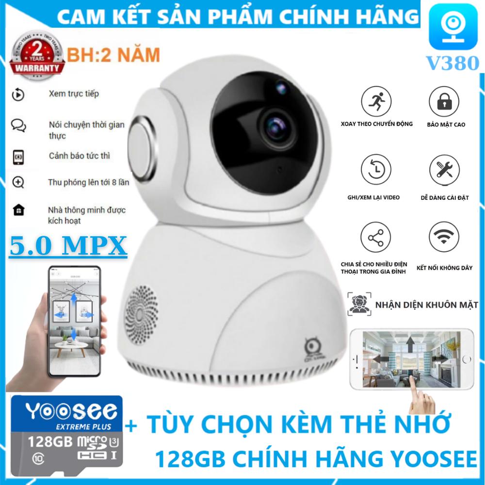 [TÙY CHỌN KÈM THẺ NHỚ 128GB CHÍNH HÃNG - BẢO HÀNH 2 NĂM] Camera Wifi 360 Độ V380Pro Q8 Chất Lượng 5.0MPX - Camera wifi trong nhà, Theo dõi chuyển động và nhận diện con người thông minh, Báo động bằng còi hú khi có người