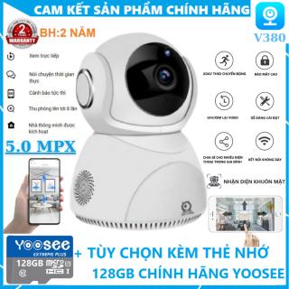 [TÙY CHỌN KÈM THẺ NHỚ 128GB CHÍNH HÃNG - BẢO HÀNH 2 NĂM] Camera Wifi 360 Độ V380Pro Q8 Chất Lượng 5.0MPX - Camera wifi trong nhà, Theo dõi chuyển động và nhận diện con người thông minh, Báo động bằng còi hú khi có người thumbnail