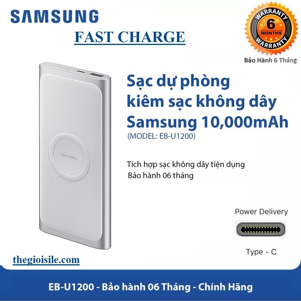 Pin sạc dự phòng Samsung kiêm sạc không dây 10000 mAh EB-U1200 Type C - USB _ Pin sạc dự phòng không dây Samsung Wireless Charger EB-U1200 10.000 mAh
