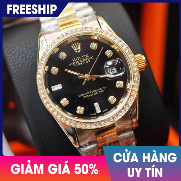 [SIÊU GIẢM GIÁ] Đồng hồ nam Rolex Đen Size 38mm, mặt tròn đính đá cao cấp bán chạy