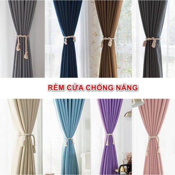 Rèm vải treo cửa chống nắng tốt 99% vải dày (có sẵn khoen) MÀU TRƠN PASTEL