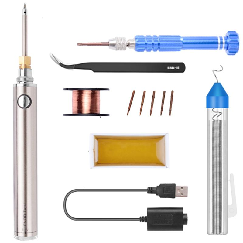 5V 8W Soldering Iron Wireless Charging Soldering Iron Mini Portable Battery Soldering Iron with USB Welding Tools(1Set)