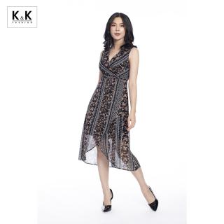 Váy Đầm Chữ A K&K Fashion KK99-40 Màu Đen Họa Tiết Nhiều Màu Chất Vải Voan Gân thumbnail