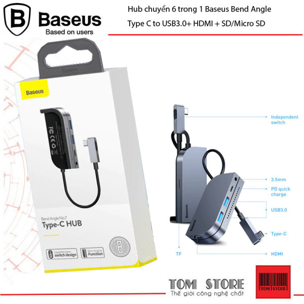 Bảng giá Hub chuyển 6 trong 1 Baseus Bend Angle No.7 dùng cho iPad Pro 2018 11/12.9 inches (Type C to USB3.0+ HDMI + SD/Micro SD + Audio 3.5mm+C PD, Extended InterfacesHub) Phong Vũ