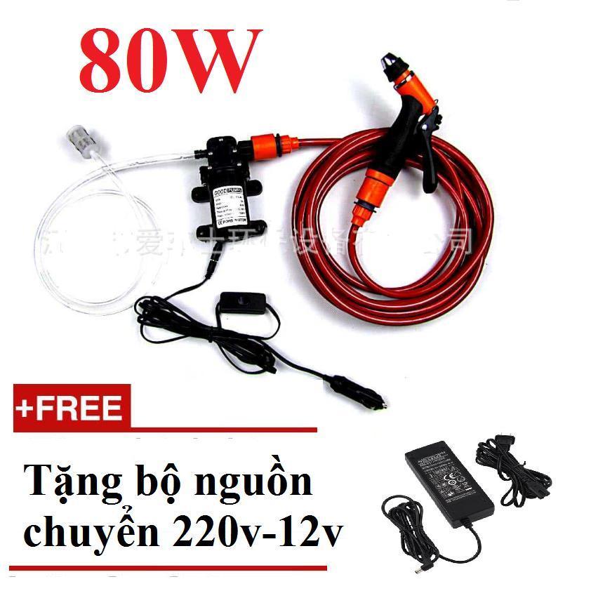 Máy bơm rửa xe tăng áp lực nước mini 12v 80w kèm nguồn Adapter