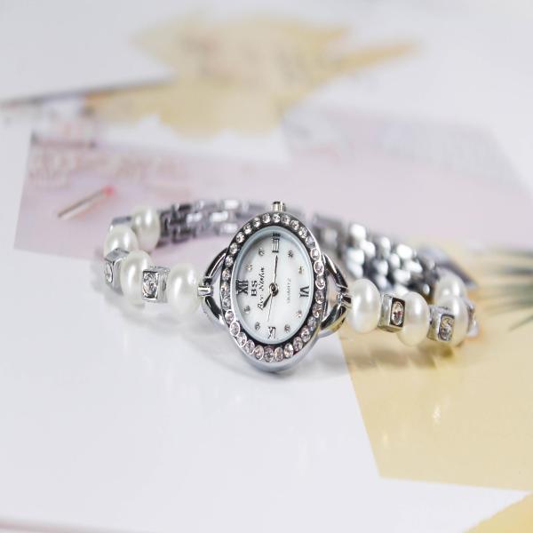 Đồng hồ nữ Bee Sister 0284 dây hạt ngọc trai, mặt tròn đính đá, thiết kế mới, hơi hướng hiện đại