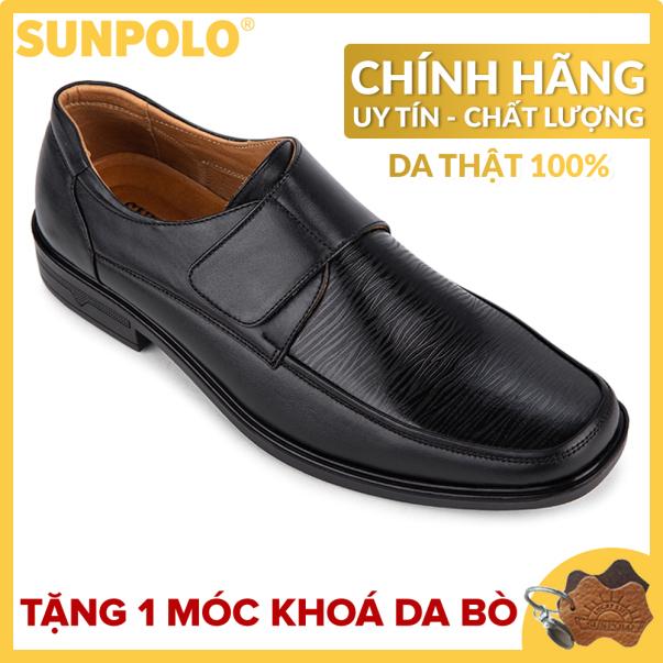 Giày nam, Giày tây da bò SUNPOLO DAXE61 (Đen) giá rẻ