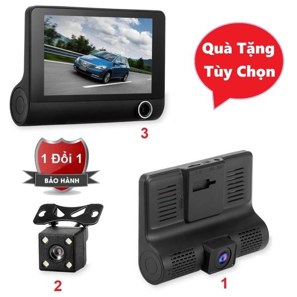 Camera hành trình cao cấp Full HD 3 in 1 gồm 1 camera trước, 1 camera sau và 1 camera trong xe