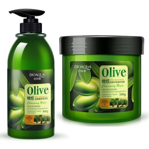 Cặp Dầu Gội Dầu Xả Ngăn Rụng Tóc Phục Hồi Tóc Hư Tổn Olive Bioaqua