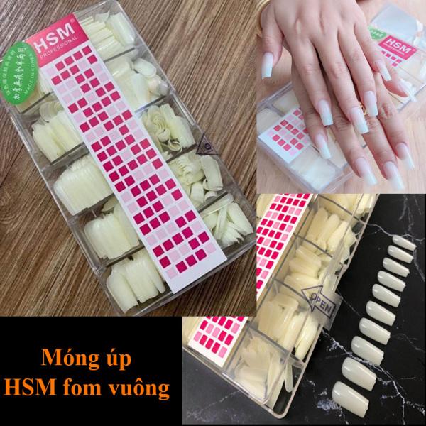 Móng úp HSM tay màu trắng tự nhiên 500 chiếc/hộp đủ size chăm sóc trang trí móng nailart nghi thảo giá rẻ