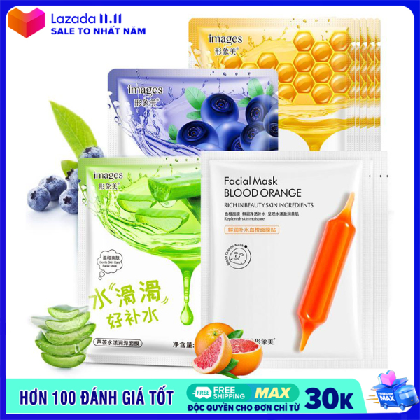 XPLUS - Combo 5 mặt nạ giấy dưỡng trắng da IMAGES mix 4 loại lô hội, việt quất, mật ong, cam đỏ mặt nạ dưỡng ẩm mặt nạ dưỡng trắng nội địa Trung XP-MA271 cao cấp