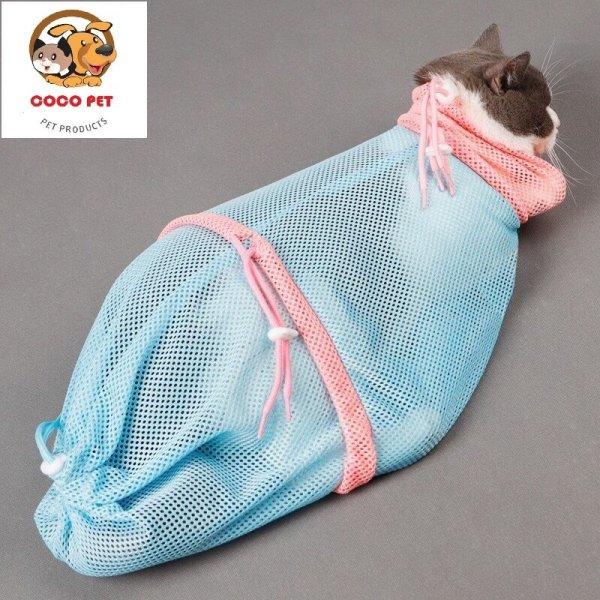 Túi Lưới Đa Năng Giúp Tắm Và Vệ Sinh Thân Thể Cho Chó Mèo (tắm, cắt móng, vệ sinh tai..) Size 33x62cm