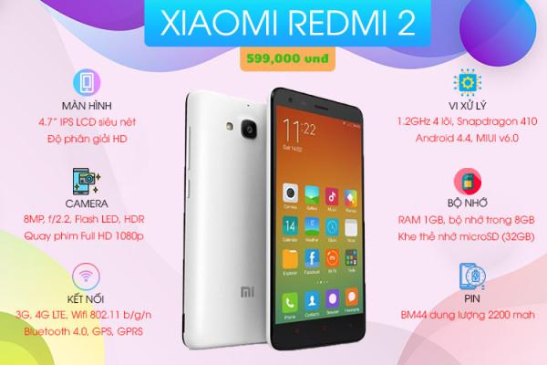 Điện thoại Xiaomi Redmi 2 16GB/2SIM Chính Hãng - Ship Toàn Quốc - Tặng Phụ Kiện