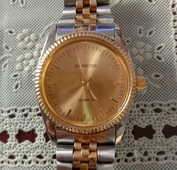 [HCM]Đồng hồ nam Orrington 34mm mặt tròn dây kim loại mạ vàng 18k máy Quartz 3kim dạ quang.