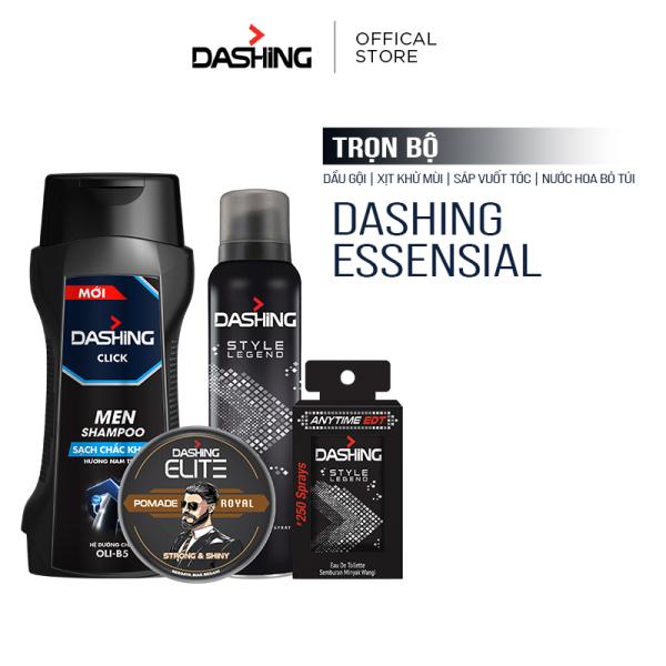 Trọn bộ Dashing: Dầu gội Dashing Click 180g & Xịt khử mùi Style Legend 125ml & Nước hoa bỏ túi Style Legend 18ml & Sáp vuốt tóc Dashing Royal 75g