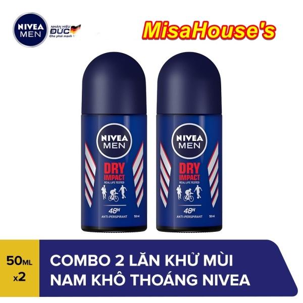 Combo 2 Lăn ngăn mùi nam khô thoáng Nivea Men Dry Impact 50ml