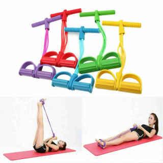 Dây kéo đàn hồi 4 ống cao su tập thể dục - tập gym tại nhà - thiết bị tập thể dục dây kéo - tập thể hình - tập toàn thân nâng cao sức khỏe - 4 ống cao su tự nhiên bàn đạp chân dây kéo đàn hồi có tay cầm 5
