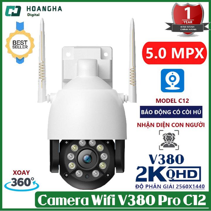 [ Kèm thẻ nhớ 64G+128GB ] Camera wifi ptz ngoài trời V380 Pro C12 5.0 Mpx chống nước  xoay 360 độ theo dõi chuyển động  camera ngoài trời camera ip  camera wifi  camera ptz camera giám sát