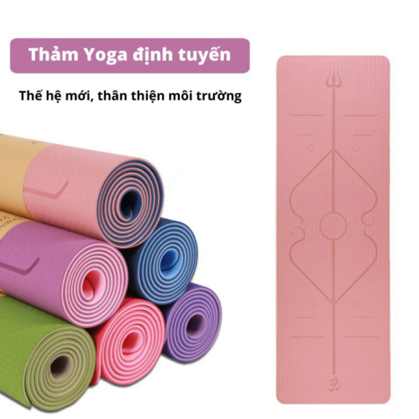 Thảm tập yoga định tuyến TPE , Thảm tập yoga DOPI - Thảm tập yoga TPE 2 lớp 8mm , chống trơn trượt , thấm hút mồ hôi - Tặng túi đựng.