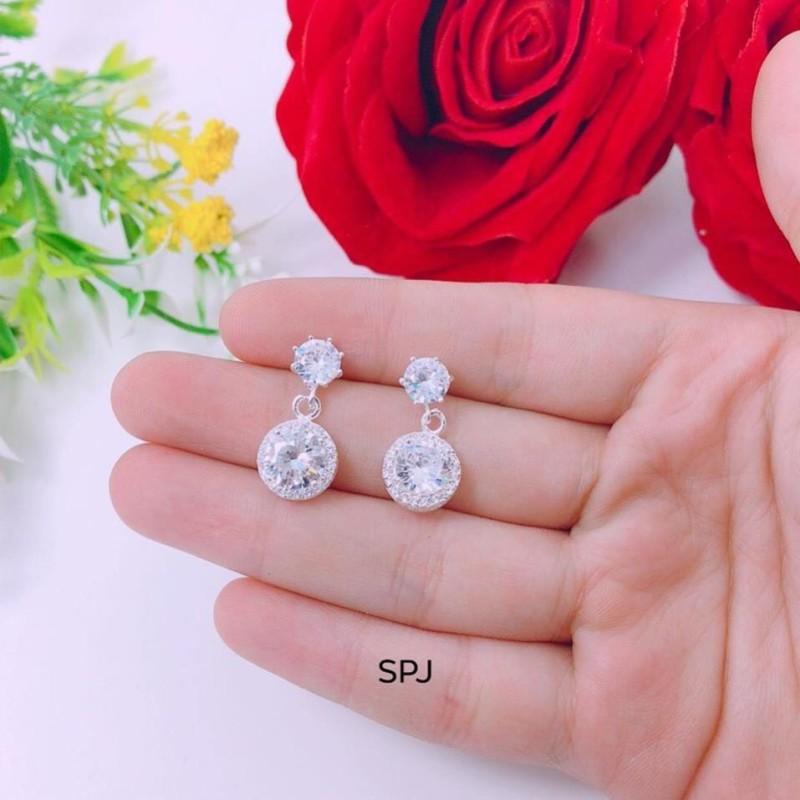 Bông tai nữ bạc đính đá tròn trẻ trung, chất liệu chuẩn bạc ta cao cấp, các họa tiết sắc sảo- JQN gian hàng chính hãng cam kết bạc chuẩn, chất lượng không lo đen xỉn