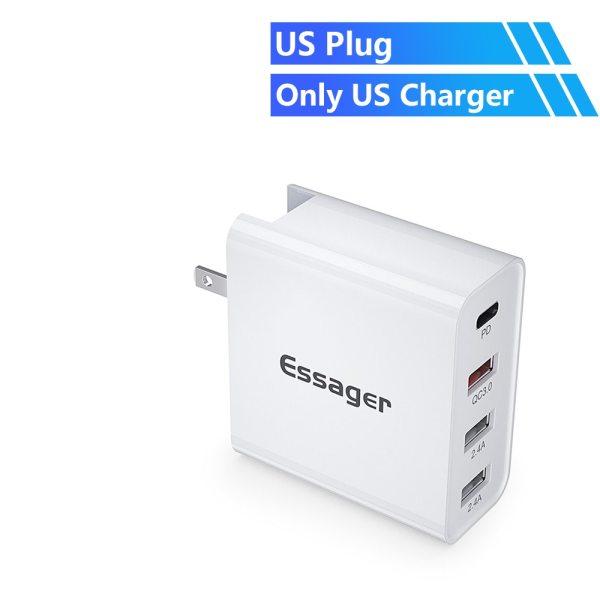 Giá Essager 48W Multi Quick Charge 3.0 Bộ sạc USB PD USB Type C QC3.0 QC Turbo Wall Bộ sạc điện thoại nhanh cho iPhone 11 Pro Max Xiaomi