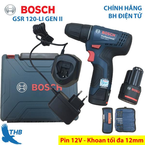 Máy khoan bắt vít Máy khoan cầm tay dùng Pin 12V- 1.5Ah Ah Bosch GSR 120-LI GEN II Mới và phụ kiện Xuất xứ Malaysia Bảo hành 6 tháng