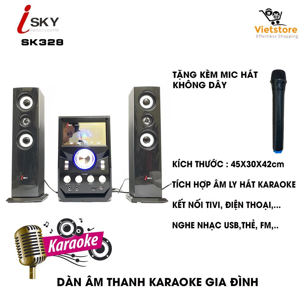 Dàn âm Thanh Giải Trí đỉnh Cao Tại Nhà - Loa Vi Tính Lớn Hát Karaoke âm Thanh đỉnh Cao Có Kết Nối Bluetooth USB Isky - SK328 (Tặng Kèm Micro Hát) Giá Tiết Kiệm Nhất Thị Trường