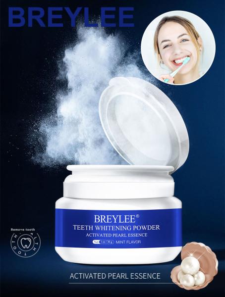 BREYLEE Bột Tẩy Trắng Răng Kem Đánh Răng Nha Khoa Dụng Cụ Răng Trắng Sạch Vệ Sinh Răng Miệng Bàn Chải Đánh Răng Gel Loại Bỏ Mảng Bám Vết Bẩn Teeth Whitening White Pearl Powder 30G