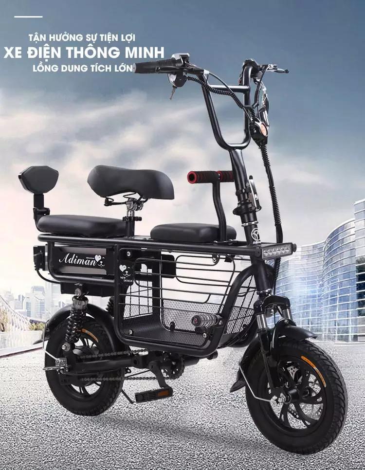 Mua Xe đạp điện mini gấp gọn ADIMAN  Pin Khủng Lithium 48V -11A/ xe đạp điện giỏ lớn  3 Ghế Ngồi