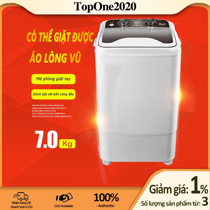[HCM]Máy giặt 7kg bán tự động màu xám nắp đen máy giặt 1 lồng cửa trên TopOne2020