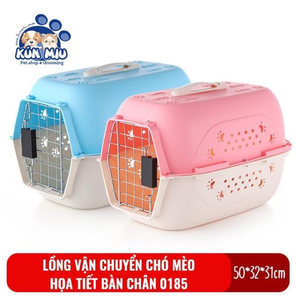 Lồng vận chuyển hàng không chó mèo họa tiết bàn chân Kún Miu 0185 chất liệu nhựa PP cao cấp