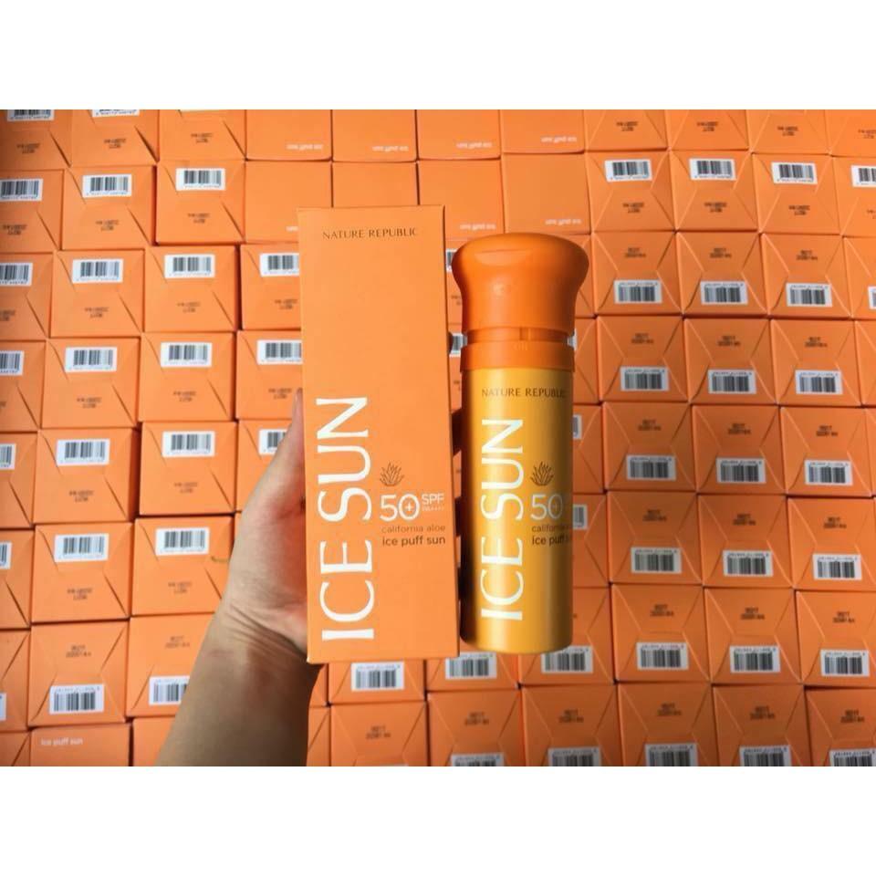 Kem Chống Nắng Giải Nhiệt, Điều Chỉnh Tone Da Nature Republic California Aloe Ice Puff Sun SPF50+ PA++++ (Cam) nhập khẩu