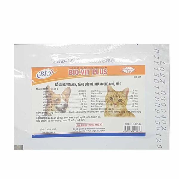 Bổ sung vitamin tăng sức đề kháng cho chó mèo Bio-Vit Plus 5g
