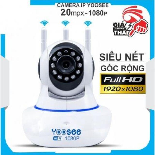 Canera Có HỖ Trợ Thẻ Nhớ Camera IP wifi Yoosee 3 anten 2.0 chuẩn HD+ 1080p  CAMERA 2.0 YOOSE 3 ANTEN -  Camera E03-WA (Yoose 2.0) 3 Ăng Ten Xoay 360 Độ CAMERA 3 ANTEN 2.0 YOOSE -.CAMERA 3 ANTEN 2.0 YOOSE -CÓ CỔNG LAN CAMERA WIFI YOOSE 3 RÂU 2.0