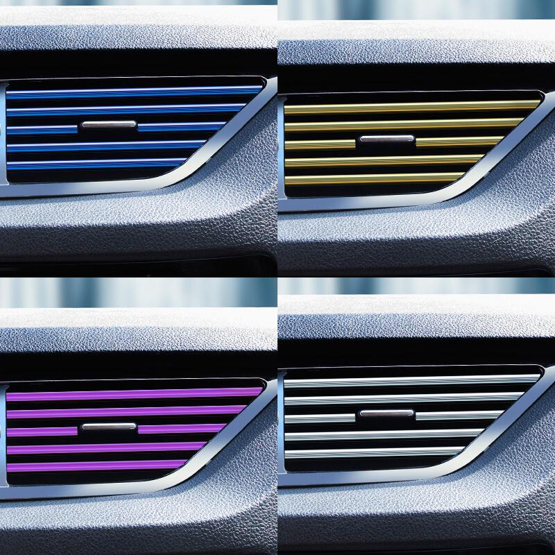 Bộ 10 dải dây nẹp, sợi nhựa PVC trang trí thanh cửa gió, cánh quạt điều hòa thông gió ô tô, xe hơi_ C060-NTTCG - 4