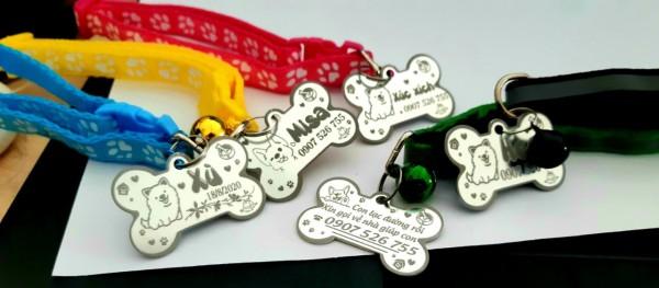 thẻ khắc tên chó mèo tặng kèm dây đeo có chuông