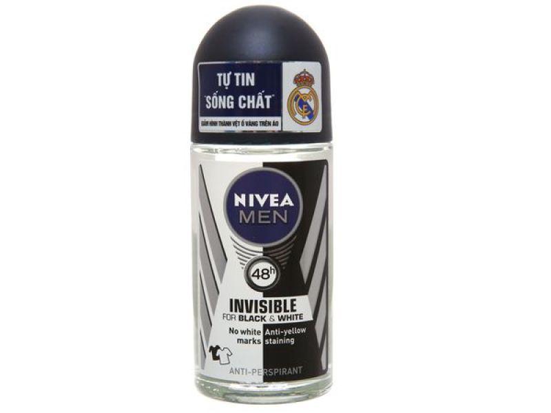 Lăn khử mùi Nivea Invisible For Black & White chai 50ml cao cấp