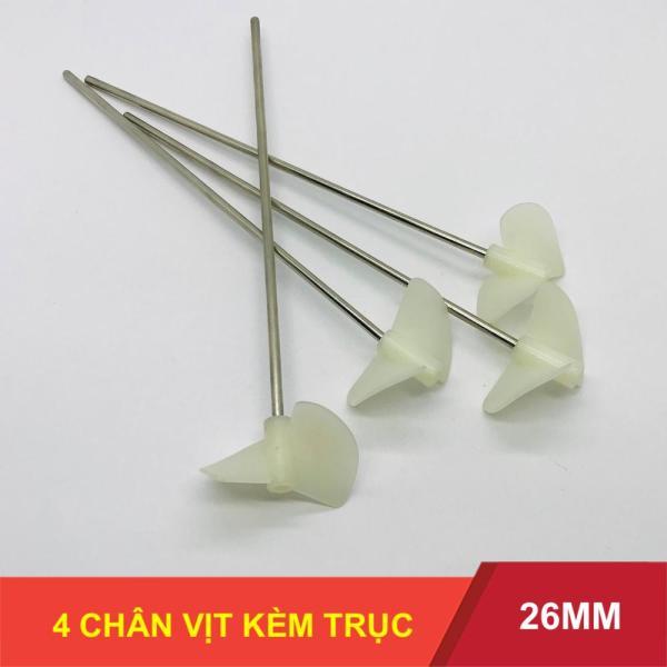 Bộ 4 chân vịt nhựa 2 cánh 26mm kèm 4 trục 2mm 4 khớp nối nhựa chế thuyền - LK0165