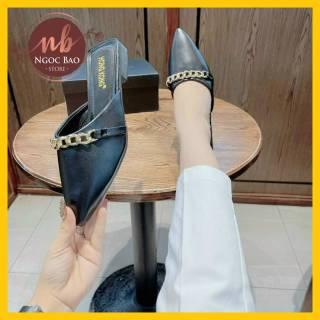 (Video thật) Sục nữ mũi nhọn cao cấp quai viền xích đồng NgocBao Store cực Sang Chảnh SIÊU HOT 2021, giày sục nữ đế bằng mang êm chân cực đẹp thumbnail